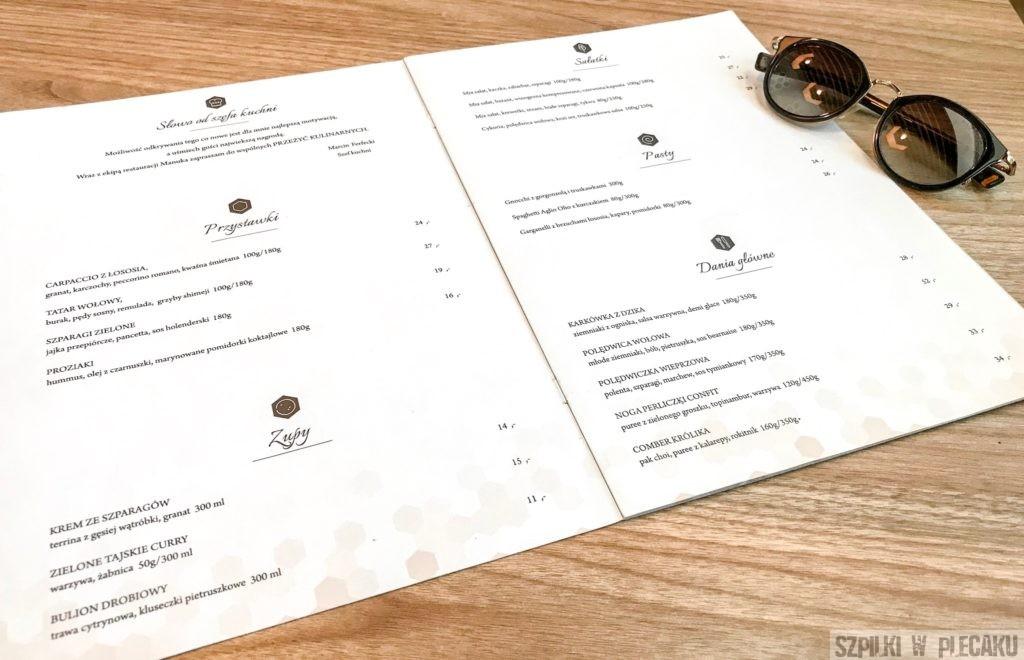 menu restauracja Manuka Mielec
