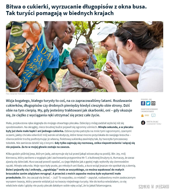 Bitwa o cukierki, wyrzucanie długopisów z okna busa. Tak turyści pomagają w biednych krajach: Fly4free.pl