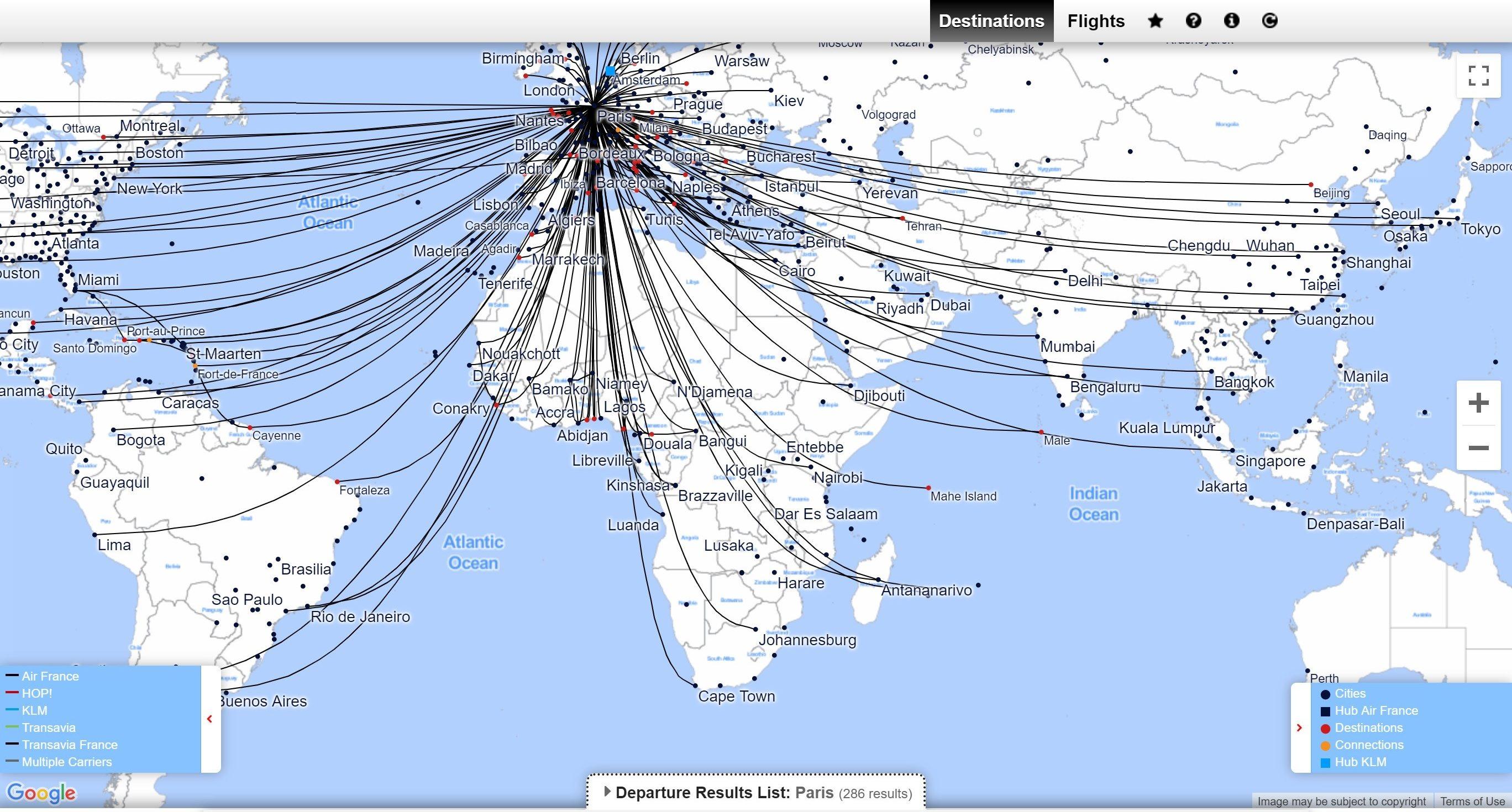 Mapa air france