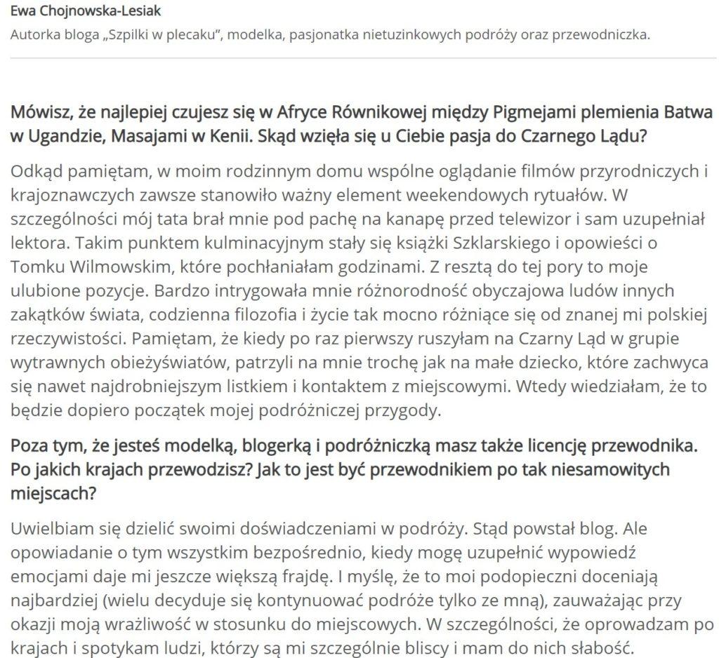 Ewa Chojnowska-Lesiak Szpili w Plecaku - poznawanie lokalnych kultur
